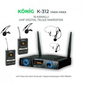 König K-312YY UHF Telsiz Çift Yaka +Kafa Mikrofonu