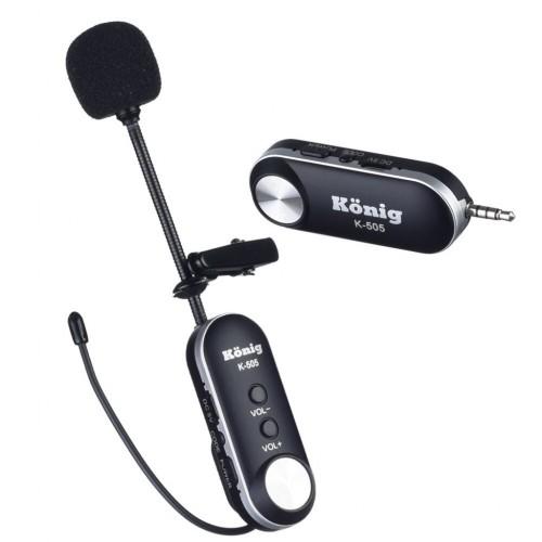 König K-505 Şarzlı UHF Telsiz Kablosuz Yaka Mikrofonu