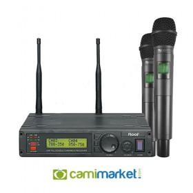 Roof R-1200EE UHF Kablosuz Çift El Mikrofonu