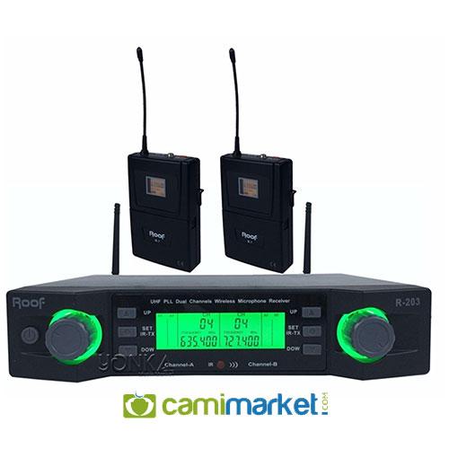 Roof R-203Y UHF Kablosuz Çift Yaka Mikrofonu