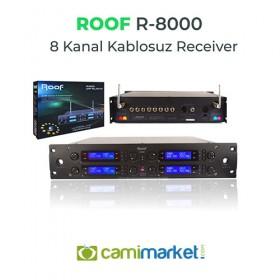 Roof R8000 8 Kanal Receiver + R6 Telsiz Kablosuz Yaka Mikrofonlu