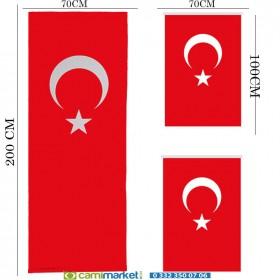 Minber Perdesi  3 Lü Takım- Storlu-Türk Bayrağı