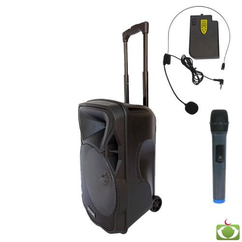 Rose RS-1235 Portatif Seyyar El+Kafa Telsiz Mikrofonlu Ses Sistemi 150 Watt