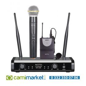 Notel NOT-2288EY UHF Kablosuz El + Yaka Mikrofon Seti